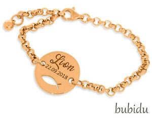 Details Zu Armband Gravur Taufe Geschenk Junge Mädchen Tauffisch Namensarmband Rosé