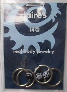 D H 2pr Black White Captive Rings 14g Surg Steel 7 16 Body Jewelry