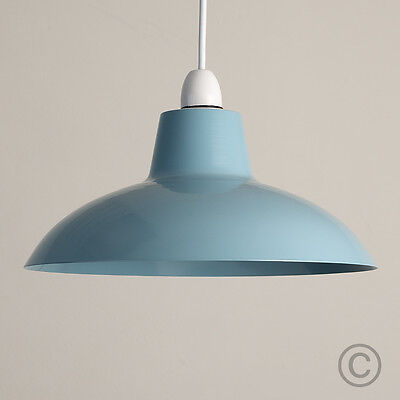 Modern Industrial Style Blue Metal Ceiling Light Pendant Shade Retro Lampshade