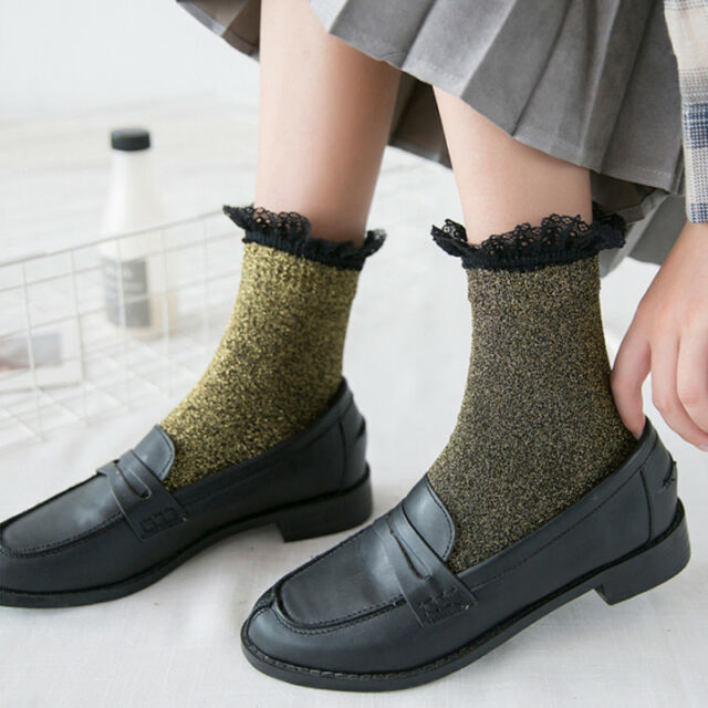Ladies Long Socks Women Winter Cotton Socks Funny Shiny Lace Loose Glitter L