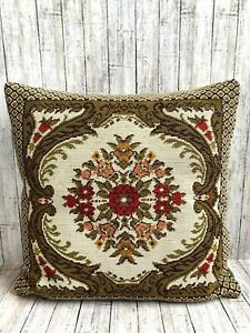 Vtg-Wool-Needlepoint-Pillow-Flowers-Red-Yellow-Pink-Velvet-Green-Back-15-034-x-15-034