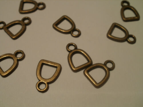 20 x LOVELY LITTLE HORSE STIRRUP CHARMS CHOICE OF SILVER OR BRONZE
