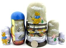 Genuine Russian 5 nesting dolls Christopher Robin Winnie the Pooh Piglet Eeyore