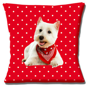 "WEST HIGHLAND WHITE WESTIE PUP IN BASKET ON RED TARTAN 16/"" Pillow Cushion Cover"