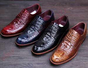 L-Mens-Brogues-Lace-Up-Casual-Alligator-Business-Dress-Formal-Wedding-Flat-Shoes