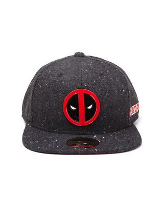 OFFICIAL MARVEL COMICS - DEADPOOL METAL SYMBOL BLACK SNAPBACK CAP (NEW)