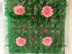 NEW-COTTON-CANDY-PINK-DAISY-amp-LADYBUG-GRASS-MAT-DISPLAY-SQUARE-GR03