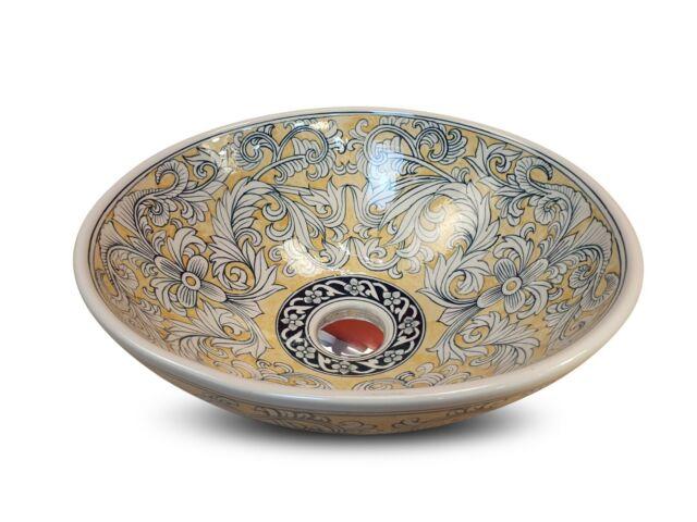 Antico Lavello In Ceramica.Stile Antico Lavandino Ceramica Bacino Ciotola Lavabo Nobile Rotondo Dipinto Ebay