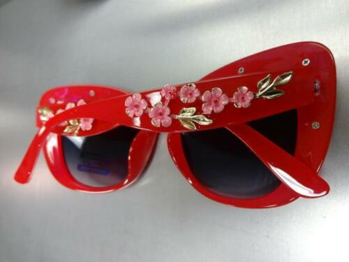 OVERSIZED VINTAGE RETRO CAT EYE Style SUN GLASSES Thick Red Frame Floral Design