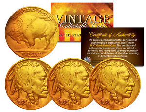 Lot-of-3-Various-Full-Date-BUFFALO-NICKELS-US-Coins-24K-Gold-Plated-Indian-Head