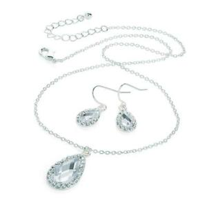 630d1735e Image is loading Silver-Bridesmaid-Crystal-Necklace-Earrings-Set-Wedding- Bridal-