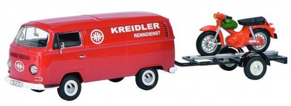 1 43 Schuco VW T2a Kreidler-Service mit Motorradanhänger und Kreidler Florett