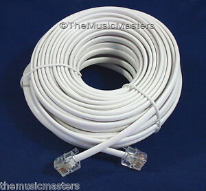 50FT RJ11 TELEPHONE EXTENSION PHONE CABLE LINE CORD WHITE