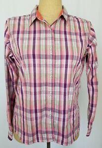 Wrangler-Aura-Women-039-s-Pearl-Snap-Shirt-Medium-Pink-Purple-Western-Rodeo-Cowgirl