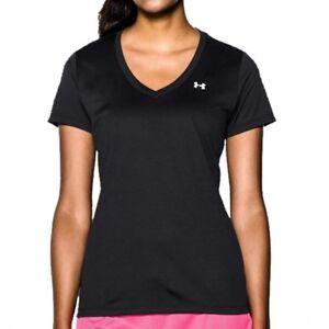 Under-Armour-Womens-Tech-V-Neck-Black-S-S-Fitness-T-Shirt-1225839-002-Size-M