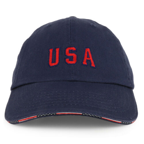 USA Embroidered Washed Cotton Twill Unstructured Sandwich Bill Baseball Cap