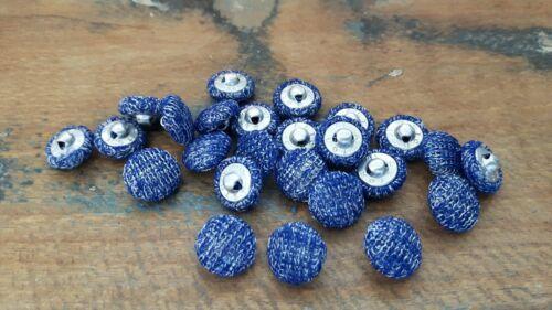 DM 11,5 mm ♥ ♥Nr S2 Zauberhafte alte Stoffknöpfe blau silber 20 St