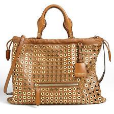 NEW $2695 Burberry Prorsum Big Crush Peg Eyelet Tote Bright Tan Brown Leather