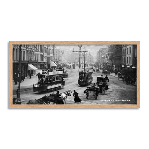 Patrick Street Cork Irlanda 1902 foto enmarcada pared arte 25X12 de largo