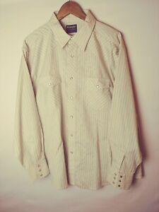 Wrangler-Mens-Shirt-2XL-XXL-Tan-Stripe-Metallic-Detail-Western-Pearl-Snap-LS
