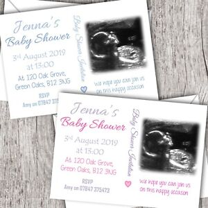 980a63525 Image is loading Personalised-Baby-Shower-Invitations-Your-own-photo-scan-