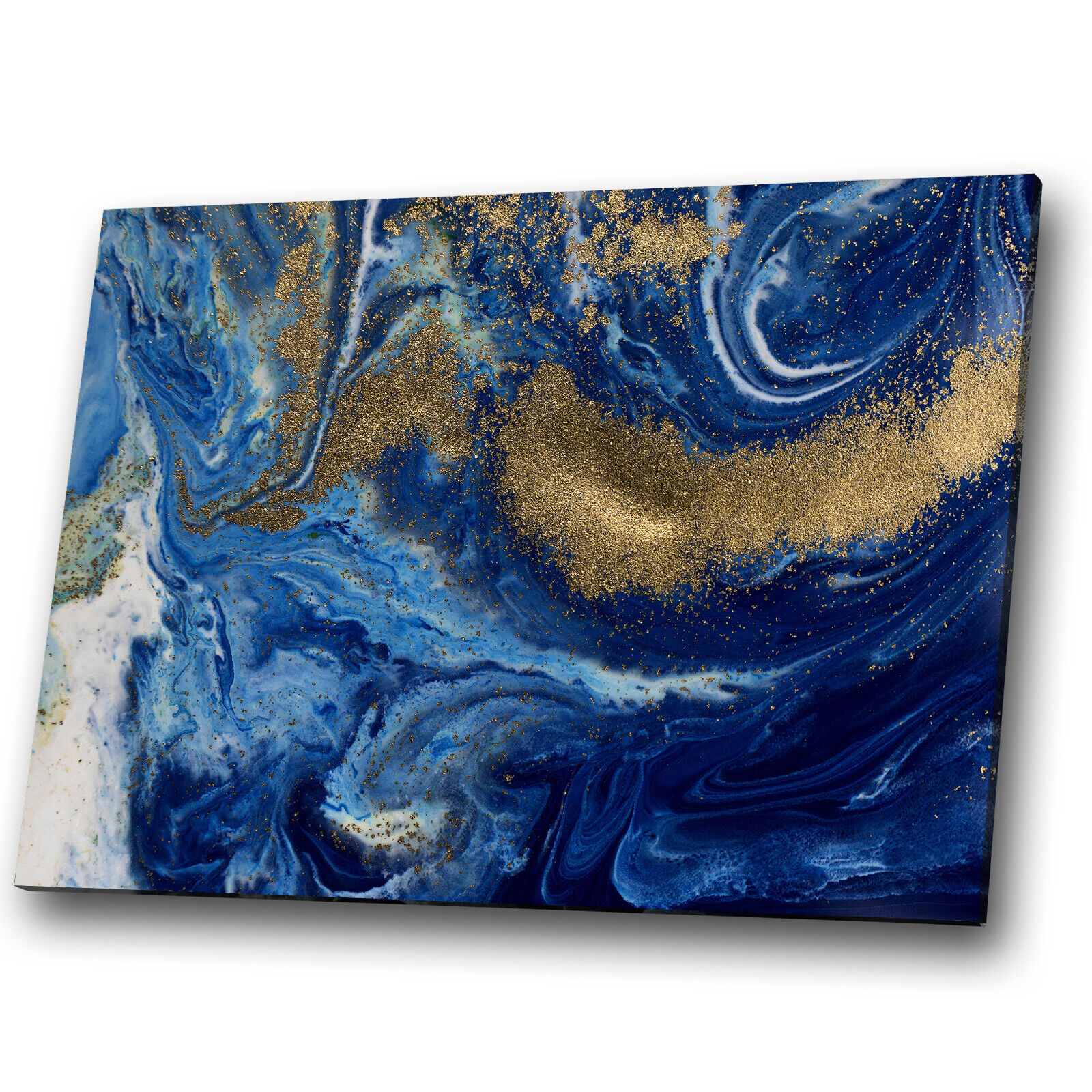 Blau Navy Gold Weiß Cool Abstract Canvas Wall Art Large Picture Prints