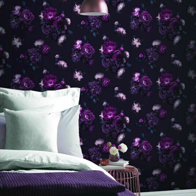 Euphoria Roses Floral Plum Flower Feature Wallpaper Arthouse 697500