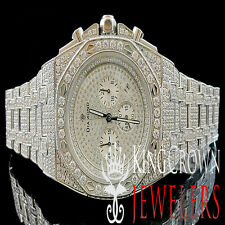 Men Solid White Stainless Steel Jojino Joe Rodeo Simulated Diamond XL Watch 43MM