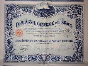 Cgt Compagnie Générale Des Tabacs Action Privilégiée 100 Francs 1927 Yxu71917-07221359-344552802