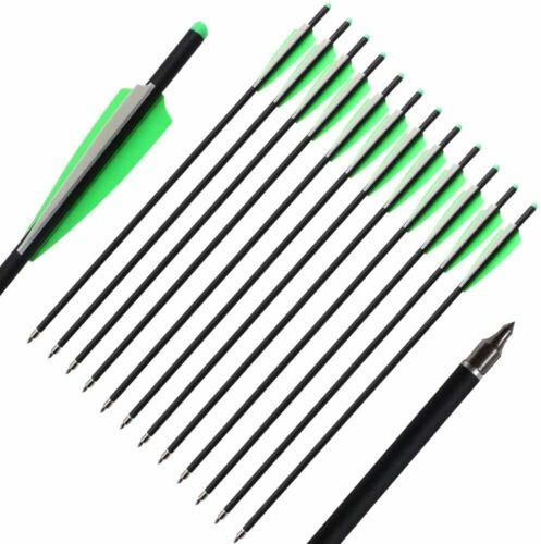 """12pcs 16/"""" 20/"""" Carbon Crossbow Bolts With Field Point//Moon Nock Target Arrows"""