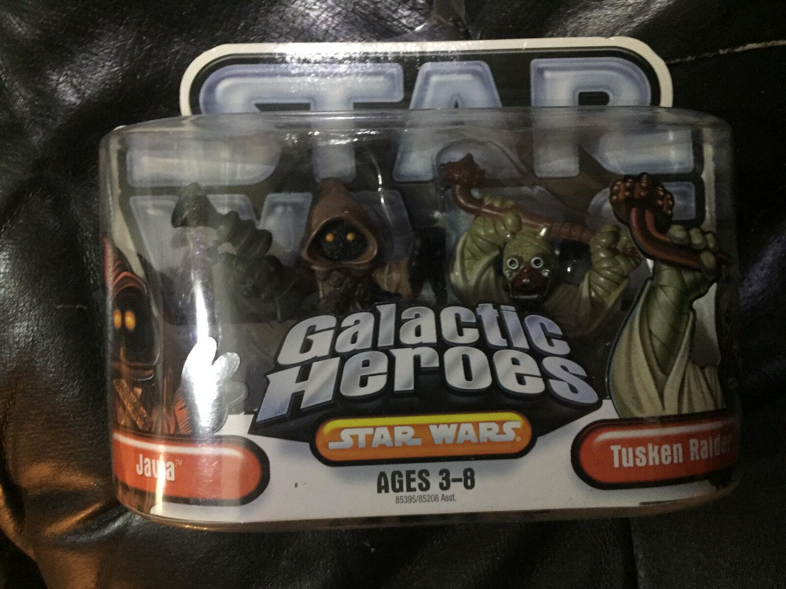 Estrella Wars Galactic Heroes Mini-figura 2 Pack-Jawa & Tusken Raider Nuevo MOC difícil de encontrar