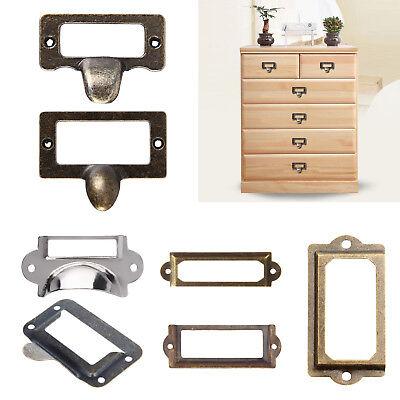10pcs Drawer Label Pull Holder Frame Cabinet Antique Brass Name File 60*17mm ZY