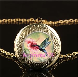 Hummingbird Whit Flower Cabochon Glass Tibet Silver Locket Pendant Necklace
