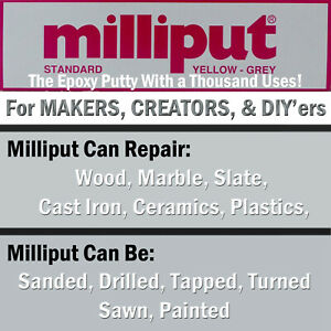 Milliput-YELLOW-GREY-Standard-Epoxy-Putty-Sculpting-General-Repairs-DIY