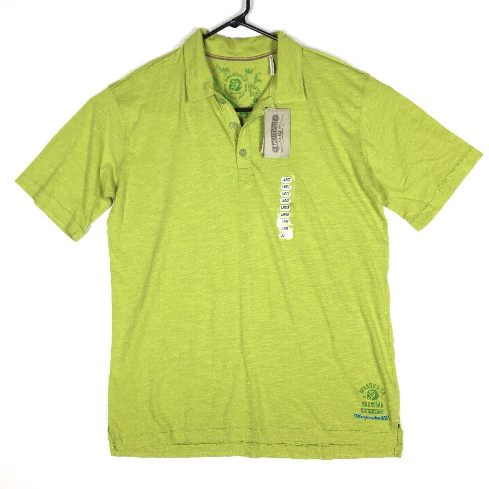 Margaritaville Men's Short Sleeve Polo Shirt Size Large Cotton Green