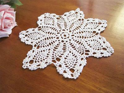 Lovely Fine Yarn Handmade Floral Crochet Cotton Doily White