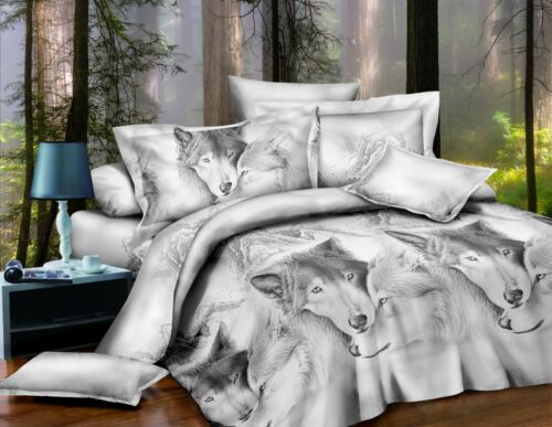 4 Pieces Floral Animal 3D Printed Duvet Cover Fitted Sheet Complete Bedding Sets