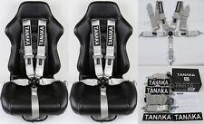 "2 X TANAKA UNIVERSAL GRAY 5 POINT CAMLOCK RACING SEAT BELT HARNESS 3"" SFI 16.1"