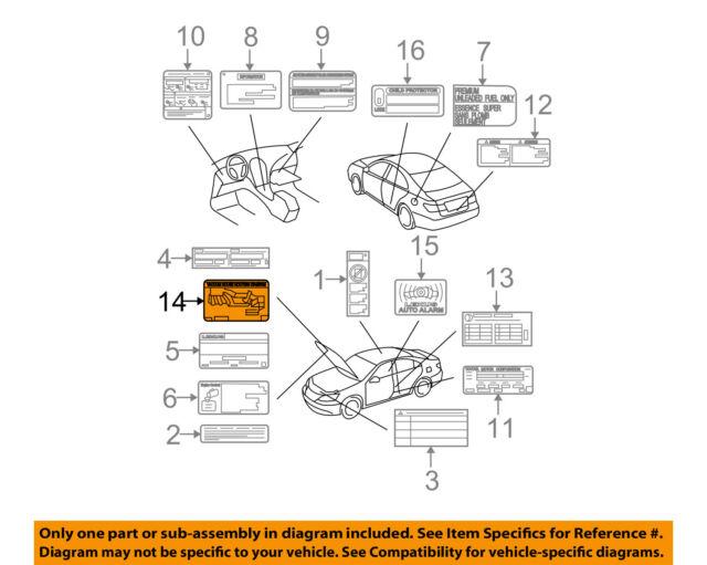 Lexus Toyota Oem 07 09 Es350 Labels Vacuum Hose Diagram 1779231220