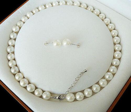 "8 Mm Blanc Akoya Cultured Shell Perle Collier Boucle D/'Oreille Set longue 22/"" AAA 06"