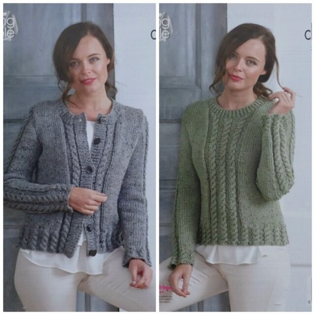 KNITTING PATTERN Ladies Long Sleeve Cable Cardigan /&Jumper Chunky King Cole 3440