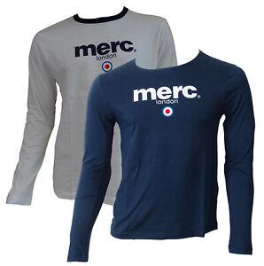 T-shirt-Maglia-Maniche-Lunghe-MERC-London-100-Cotone-Uomo-Men-Blu-Blue-Bianco-W