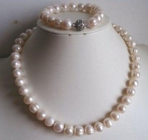 10-11mm weiße Perlenkette und Armband Set (Magnetverschluss)