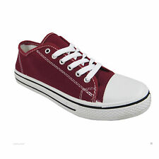 justyouroutfit WOMENS BK63 CANVAS FLAT LACE UP TRAINERS