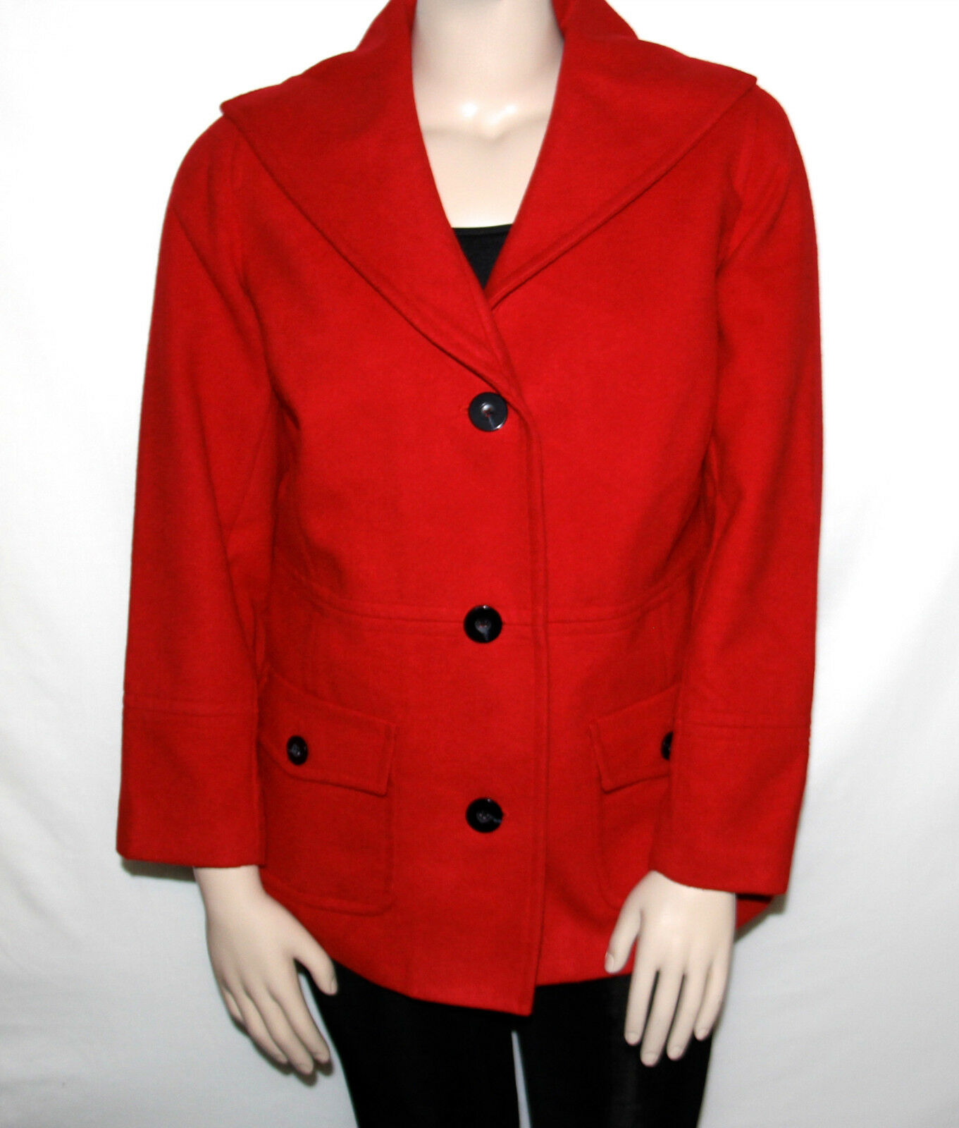 NEW JM Collection Plus 1X RED AMORE Shawl Collar Button Front Coat