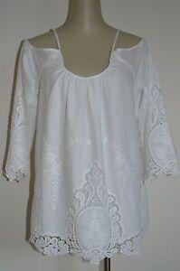 42974a14b4718c NWT CYNTHIA ROWLEY PLUS XL 1X Fancy White Crochet Cold Shoulder ...