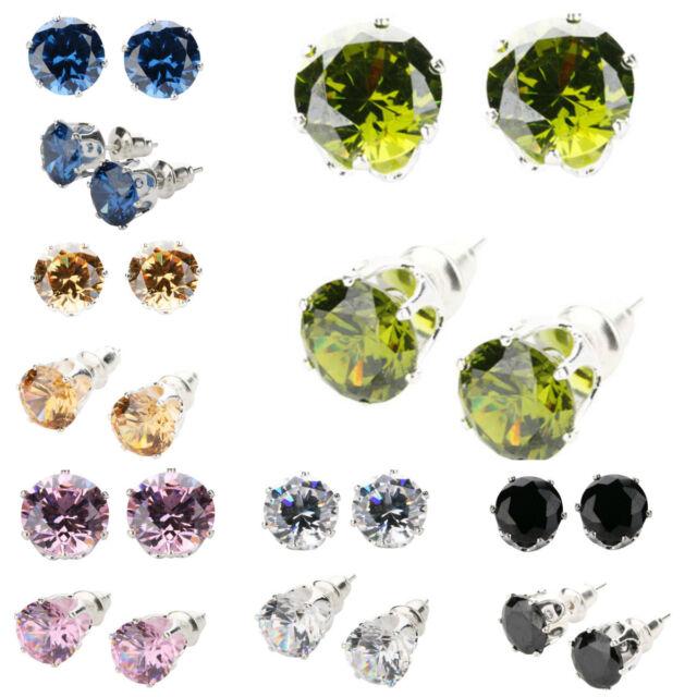 New Fashion Beautiful Women Colorful Gemstone Silver Stud Earrings
