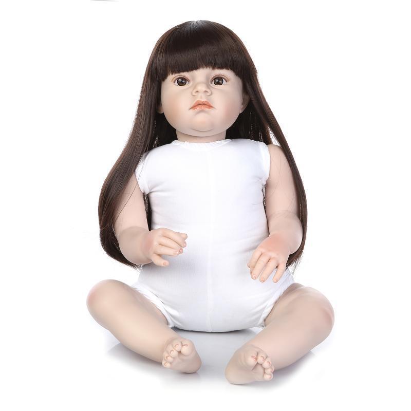 28  Muñeca Bebé Reborn Infante Cabello Largo De Vinilo Suave Silicona Muñeca de muchacha desnuda Lindo