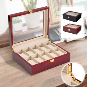 10 Grids Wooden Watch Jewelry Display Box Storage Organizer Glass Case