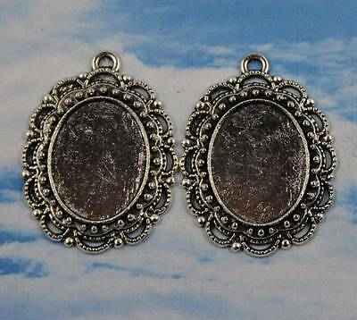 12/25pcs 30x23mm-18x14mm Antique Silver Cameo Cabochon Base Setting Charm